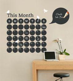 Chalkboard Daily Dot Calendar Wall Decal.