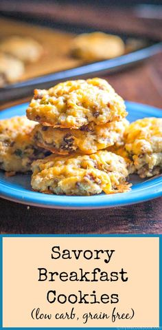 These savory breakfast cookies are like an omelet and biscuit rolled into one. Full of tasty savory ingredients for a low carb breakfast on the go.