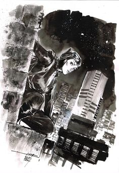 Day 23 - Catwoman inkwash on A4 canson paper