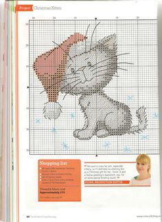 Cat with Santa hat free cross stitch pattern
