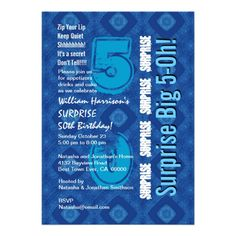 SURPRISE 50th Modern Birthday Blue and White V34 Invite