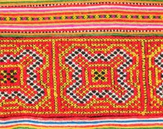 Vintage Hmong Embroidered Fabric with beautiful cross-stitch Technic. by TaTonYon