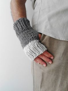 Fingerless gloves mens knit gloves mens arm warmers by PlexisArt
