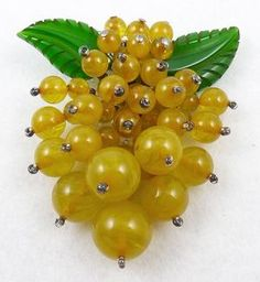 Miriam Haskell Golden Bakelite Berries Dress Clip - Garden Party Collection Vintage Jewelry