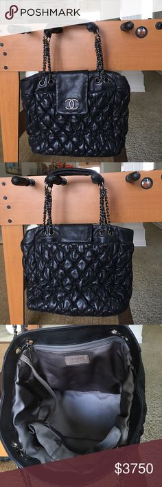 b377d3cf2a0 Chanel bubble quilt black tote Authentic