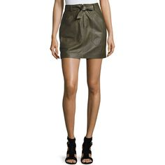Rebecca Taylor Tie-Front Lamb Leather Mini Skirt ($795) ❤ liked on Polyvore featuring skirts, mini skirts, olive, tie front skirt, tie-dye skirt, olive green skirt, front zip skirt and short skirts