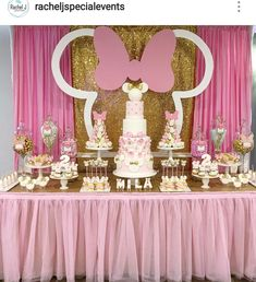 Minnie Mouse Birthday Party Dessert Table and Decor