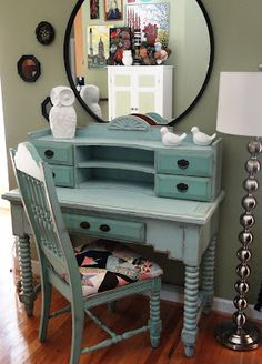 Love this repainted desk (was red before the transformation), and need to reupholster a chair with some pieced fabric - love this look - from Button Bird Designs