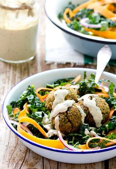 Recipe: Baked Red Lentil Falafel Salad — Recipes from The Kitchn {need: Italian parsley leaves, cilantro leaves, serrano peppers, chickpea flour}