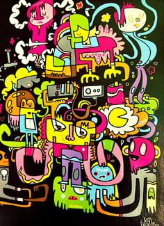 Jon Burgerman is a British artist who traverse the disciplines of contemporary art, design, illustration and entrepreneurship. Tag Street Art, Smart Art, Call Art, Graphic Design Trends, Graphic Illustration, Illustrations, Outsider Art, Cartoon Art, Doodle Art