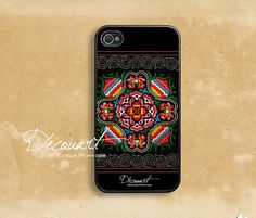 iPhone 4 case, iPhone 4s case, case for iPhone 4, miao hmong embroidery floral pattern - NOT real embroidery B227