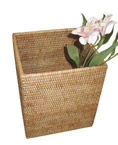 Rattan Square Waste Basket
