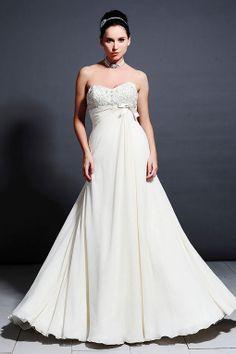 Modern A-line sleeveless chiffon wedding dress
