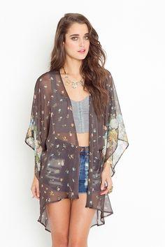 Kimono Jacket + cropped top + denim shorts