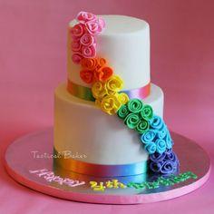 rainbow flower cake by tacticalbaker