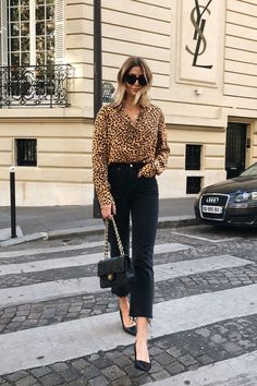 leopard print blouse with black high rise ankle pants and black pumps. Visit Daily Dress Me at daily Fashion Mode, Fashion News, Fashion Trends, Fashion Stores, Style Fashion, Fashion Websites, Fashion 2017, 90s Fashion, Fashion Online