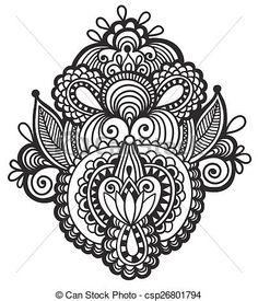 Vecteur - noir, ligne, art, Orné, fleur, conception, ukrainien, ethnique, Style - Banque d'illustrations, illustrations libres de droits, banque de clip art, icônes clipart, logo, image EPS, images, graphique, graphiques, dessin, dessins, image vectorielle, oeuvre d'art, art vecteur EPS