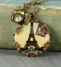 Eiffel Tower Vintage Paris Brass Filigree Camera Necklace