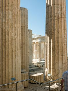 The Propylaea    Propylaea columns, with the Temple of Athena Nike beyond