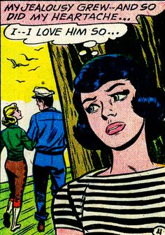 """Comic girls say.. """"I..I love him so.."""" #comic #popart #vintage"""