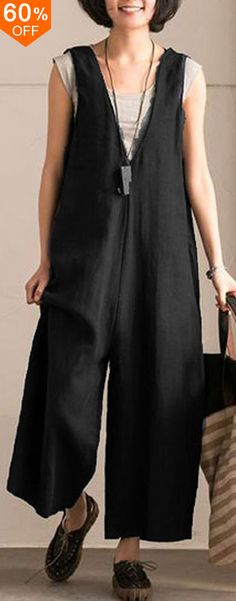 L-5XL Vintage Women Sleeveless Cotton Jumpsuits. #women #leggings #fashion