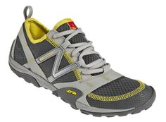 New Balance Vibrams, multisport. I like the gray and yellow, they don't draw too much attention and they look like you could just slip them right on.