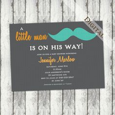 Baby+boy+shower+invitation+mustaches+little+man+by+JoyInspiration,+$13.00