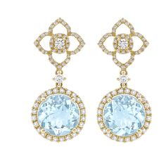 An absolutely stunning pair of blue topaz and diamond drop earrings with the signature Aurora diamond outline, all set in 18ct yellow gold. From our brand new 'Aurora' collection.
