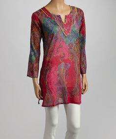 1b33f174339b Look what I found on  zulily! Pink  amp  Blue Paisley Bead Embellished Tunic