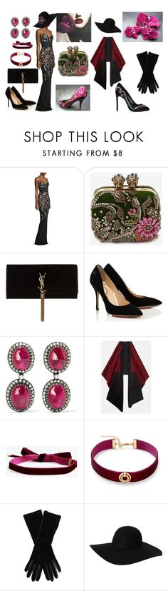 """Gorgeous theater or opera outfit! Different ways to wear Floreti Couture Flower Accessories for Wedding or Evening. Featuring:  Black Halo Catania Sweetheart Gown BACALL black suede shoes Yves Saint Lauren clutch Rebecca Minkoff Velvet Ring Choker Amrapali 18-karat gold, sterling silver, ruby and diamond earrings Floreti Couture Aphrodite Orchid Velvet Collection, Dress Pin, Shoe Clips, Choker Flower, Hair Clip, Hat Pin Flower Jewelry Alexander McQueen Embroidered """"queen & King"""" Skeleton…"""