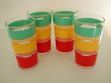 Vintage Drinking Glasses STRIPED Red Green Yellow Multi Color SET 4