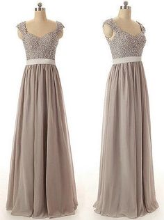 Gray Color Lace Bridesmaid Dress Lace Prom Dress Gray Lace Evening dress