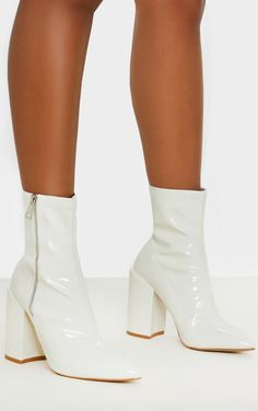 White Chunky Heel Side Zip Sock Boot | Shoes | PrettyLittleThing White Heel Boots, White Heels, Heeled Boots, Socks And Heels, Shoes Heels Boots, Sock Boots Outfit, Ballet Shoes, Dance Shoes, Pretty Heels