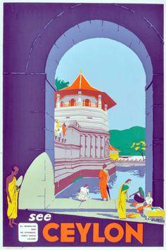 Ceylon Tourist Board - Vintage Poster - The Kandyan Dancer