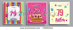 Vector Sets of 79 Years Birthday invitation, greeting card Design, with confetti and balloons, birthday cake, Colorful Vector template Elements for your Birthday Celebration Party.