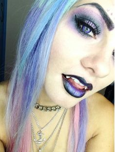 Throw back to my hair. Dying my hair silver today, super excited! Vampire Fangs, Female Vampire, Vampire Queen, Vampire Girls, Vampire Art, Gothic Vampire, Dark Beauty, Gothic Beauty, Shannon Taylor