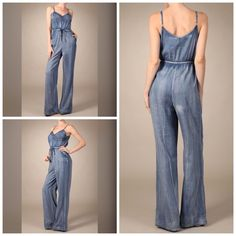 """Distressed wide leg denim jumpsuit Denim jumpsuit with wide leg and lace tie *This model is wearing size S. *Measurements are 32Bx25x35 and height is 5' 9"""" (175.3 cm). Pants Jumpsuits & Rompers"""