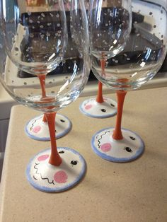 Snowman Hand Painted Wine Glasses 18 oz glasses by StephsFineWine, $10.00