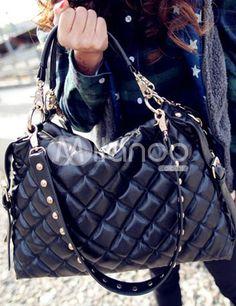 Black Quilted Thread PU Zip Closure Womens Shoulder Bag - Milanoo.com