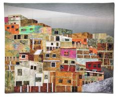"EL CERRO (The Hill), 51""W x 42""H, by Hilde Morin. A sea of topsy-turvy brick structures covering the surrounding hills of Caracas-Venezuela."