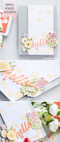 Add foiled accents to color layering images with the help of heat embossing. Learn how to make this simple floral card with WPlus9 Fresh Cut stamps and dies and Hand Lettered Hello sentiment. To watch a video tutorial and for more info, please visit http://www.yanasmakula.com/?p=54172