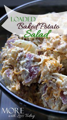 Loaded baked potato salad easy recipe, perfect for your Memorial Day BBQ. Classic potato salad recipe - loaded baked potato salad with bacon and cheese - favorite potato salad recipe-picnic food