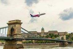 Wizz air A321 aircraft and Budapest landscape