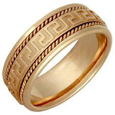 Yellow Gold Men's Handmade Grecian Key Comfort-fit Wedding Band Having a fit and fit Wedding Men, Wedding Bands, Greek Wedding, Wedding Ideas, Sapphire Diamond Engagement, Ring Designs, Gold Jewelry, Jewelry Rings, Rings For Men