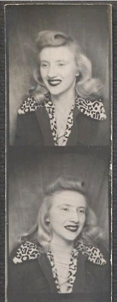 ** Vintage Photo Booth Picture **   Blond 1940's gal with leopard print collar