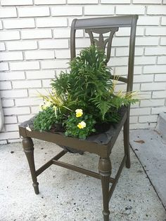 Planter Made Out Of An Old Chair