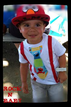 Sesame Street, Elmo,Tie Shirt with Suspenders. Available in sizes newborn… Elmo Birthday, Baby Boy Birthday, Sons Birthday, Boy Birthday Parties, Birthday Ideas, Husband Birthday, Birthday Nails, Birthday Decorations, Sesame Street Party