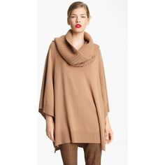 Michael Kors Detatchable Cowl Neck Poncho ($514) ❤ liked on Polyvore featuring outerwear, cowl neck poncho, red poncho, michael kors and michael kors poncho