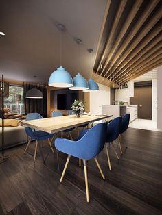 Vista sala da pranzo e cucina moderna ed elegante - appartamento originale