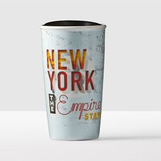New York Double Wall Traveler. A double-walled ceramic mug with a design that creates the well-worn look and authentic feel of New York.